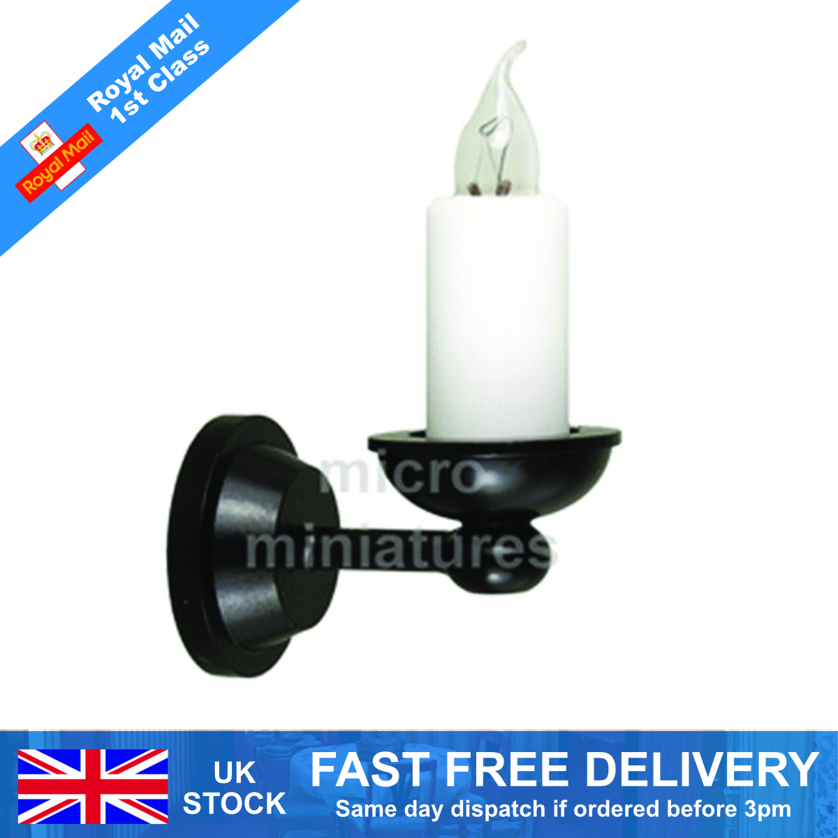 1:12 Scale Working Single Candle Wall Lamp Dolls House Miniature Light DE089